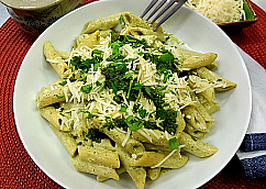 Penne with Creamy Pesto and Pine Nuts